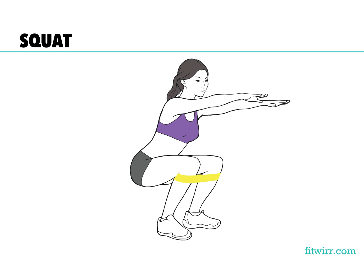 Band squat mini-band workout