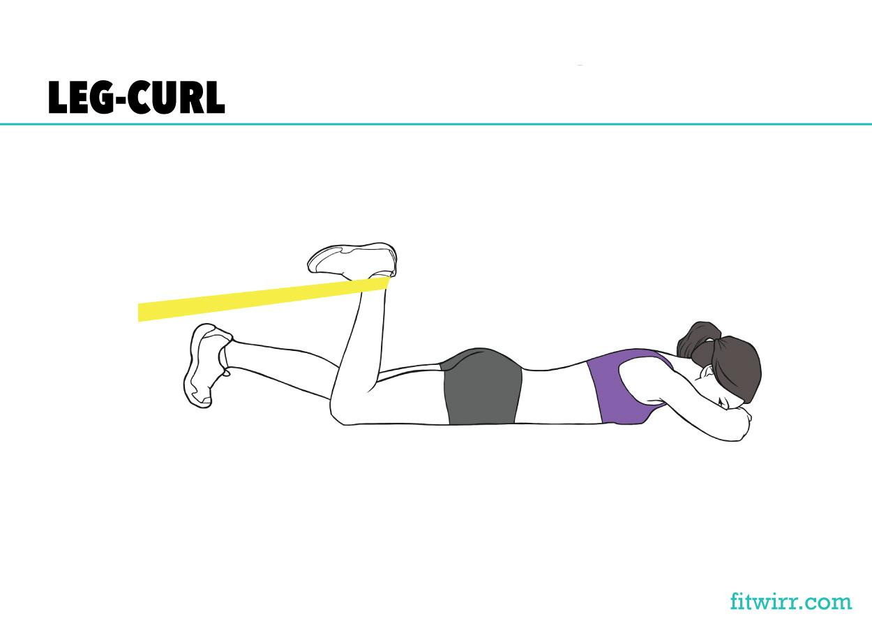 Resistance band leg curl butt workout
